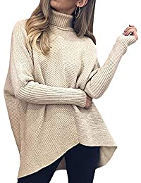 Womens Turtleneck Ribbed Knit Pullover Sweaters Batwing Long Sleeve Asymmetric Hem Casual Winter Jumper Top