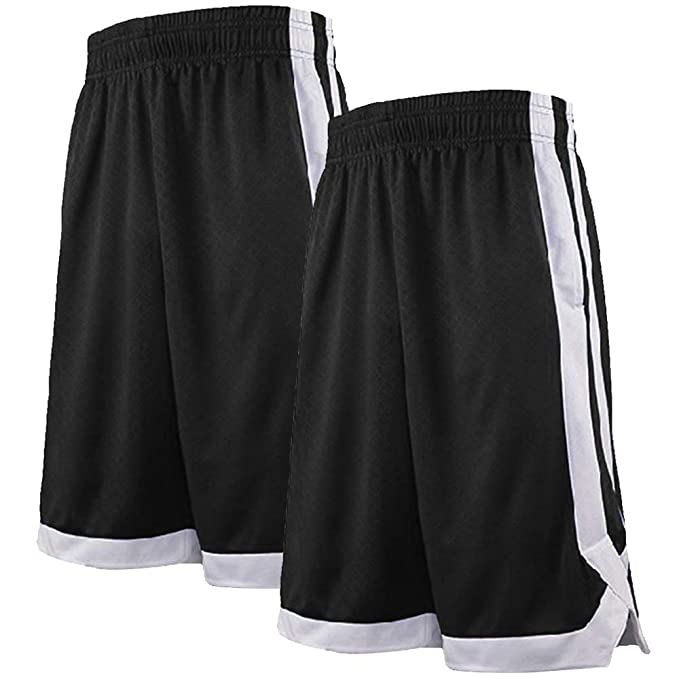 TOPTIE 2-Tone Basketball Shorts for Men with Pockets, Pocket Training Shorts
