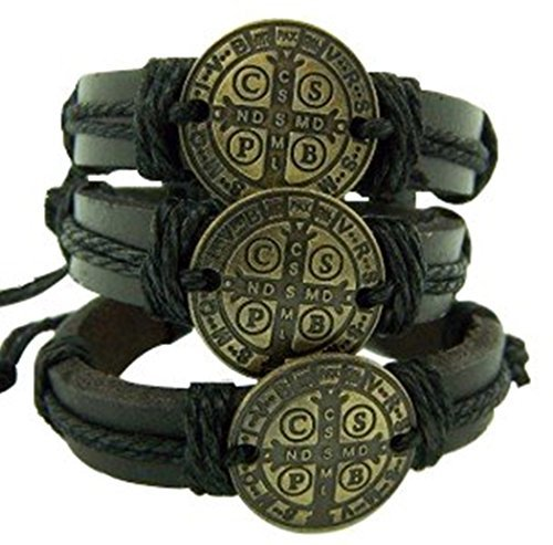 Leather Saint St Benedict Bracelet Pack S M L Bronze Tone Medal, Pack of 3