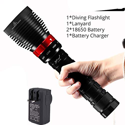 Dive light 40000LM IP8 Underwater lighting L2 Diving Flashlight Torch lanterns use 226650 Battery spearfishing diving lamp,Package B-2 X 18650