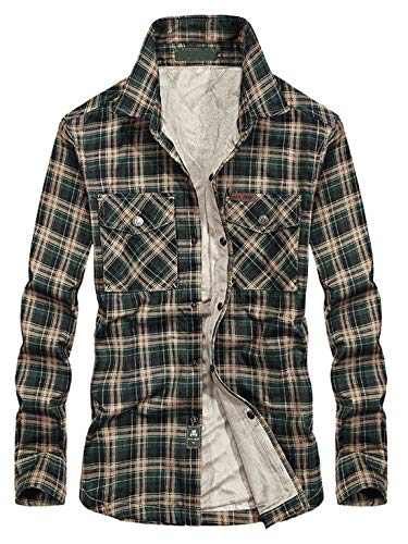 Chartou Men's Thermal Button-Down Fleece Lined Flannel Plaid Twill Work Shirt Jacket (Green, Large)