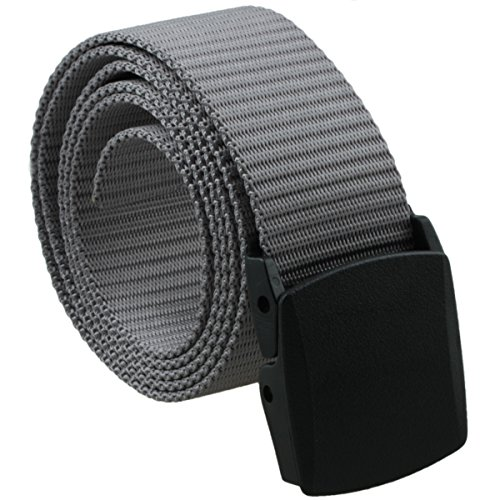 Samtree Nylon Belts for Men,Military Web Tactical Belt Automatic Plastic (Grey Belt Buckle)