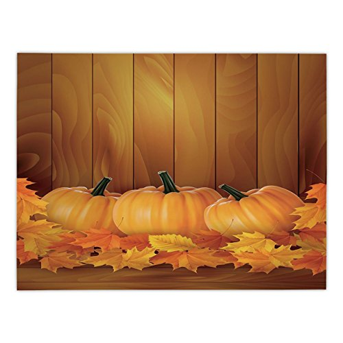 Polyester Rectangular Tablecloth,Harvest,Squash Vegetables Pumpkins and Wooden Planks Fallen Dry Maple Leaves Decorative,Orange Yellow Dark Green,Dining Room Kitchen Picnic Table Cloth Cover,for Outdo -