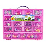 Shopkins Compatible Organizer - Fun For Life - Fits Approx 220 Characters, Up To 55 Shopping Bags and 10 Shopping Baskets [Sturdy Case And Carrying Handle] - Pink