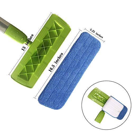 Microfiber Spray Mop Replacement Heads for Wet/Dry Mops Compatible with Bona Floor Care System (5 Pack)