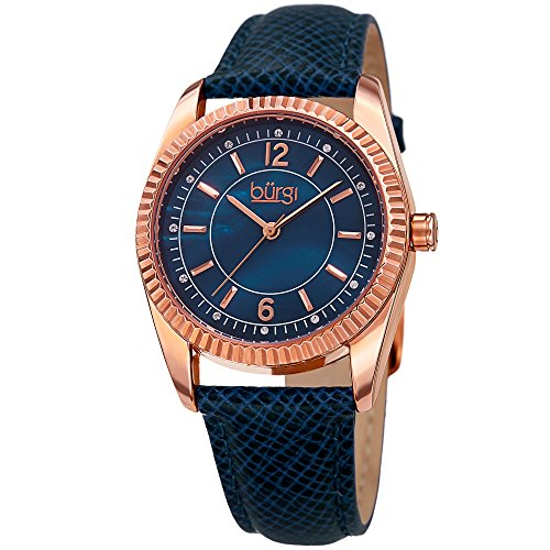 Burgi Women's Swarovski Crystal Accented Blue Mother-of-Pearl Dial with Rose-Tone Case on Genuine Leather Blue Strap Watch BUR167BU