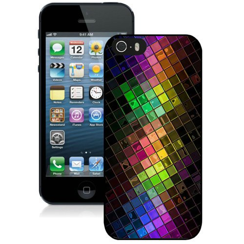 Coque,Fashion Coque iphone 5S Colorful Hd Squares Disco Ball Noir Screen Cover Case Cover Fashion and Hot Sale Design