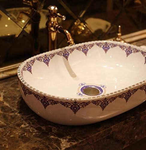 ZKS-KS 中国芸術手作りヨーロッパヴィンテージトイレ洗面台セラミックバスルームのシンクのアート楕円形のセラミック洗面用バスルームのシンク