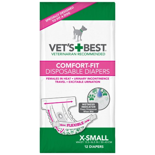 Vet's Best 12 Count Comfort Fit Disposable Female Dog Diapers, X-Small