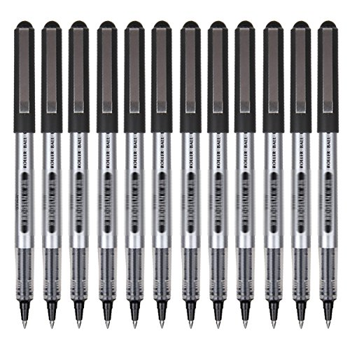 Clara 12pcs 0.5mm Smooth Gel Ink Pens Office Use Roller Ball Pens Fine Point Pens Black