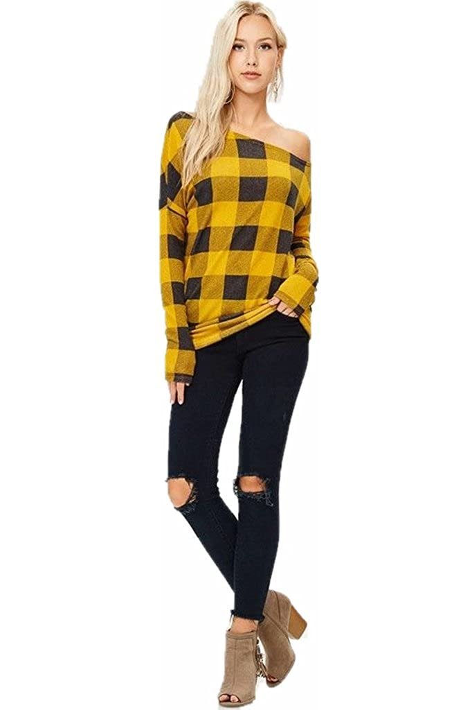 f87ef49c002d06 Red White Mustard Buffalo Plaid Checkered Off Shoulder Top Shirt Sweater  Knit Casual at Amazon Women s Clothing store