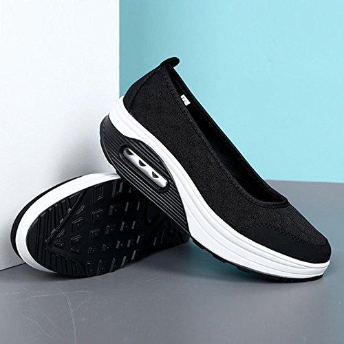 Los La Deslizamiento Simple Mujeres Suaves Verano De Respirable Plataforma Zapatos En De Las Negro Del 5w4qRf4