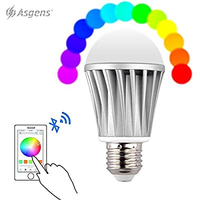 Asgens Smart Bluetooth LED Light Bulb, E27 7w 20 Built-in Models RGB Smartphone Remote Control Dimmable Multicolored Customized Color Changing Lightbulb - Work with iPhone, iPad, Android Phone Tablet