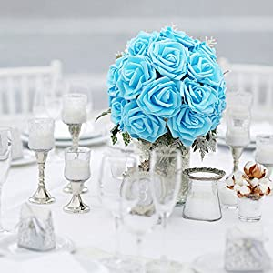 Noex Direct 30 PCS Artificial Flowr Rose Real Touch Artificial Roses for DIY Bouquets Wedding Party Baby Shower Home Decor 77