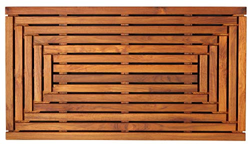5 Piece Tile Finish Natural (Bare Decor Giza Shower, Spa, Door Mat in Solid Teak Wood and Oiled Finish 35.5