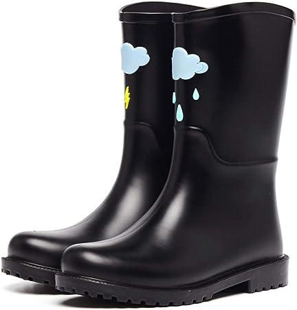 HGDR Botas de Lluvia Botas de Lluvia para Dama de Mujer Botas de Lluvia Cortas de Goma Botas Impermeables Planas para jardín al Aire Libre Zapatos,Black01-EU39: Amazon.es: Hogar