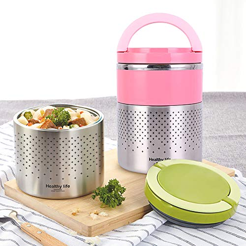 HOMESPON Vacuum Lunch Box Stainless Steel Food Jar 2 Tiers Insulated Food Container Thermal Lunch Container Leak Proof Food Storage Bento Box with Handles 52oz Holding Time 24h 1.5L (2 Tier Pink) ()