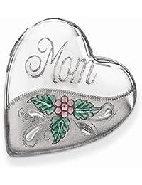Solid 925 Sterling Silver Mom W/Enamel Flower 20mm Falling Love Heart Locket Opens Engravable Pendant (20mm x 20mm)