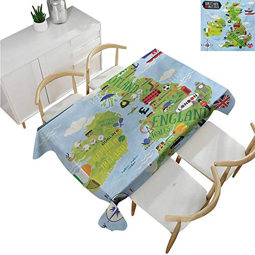 Angoueleven WanderlustWholesale tableclothsCartoon Maps of Britain and Ireland Children Landmarks IllustrationFabric Print Tablecloth 54