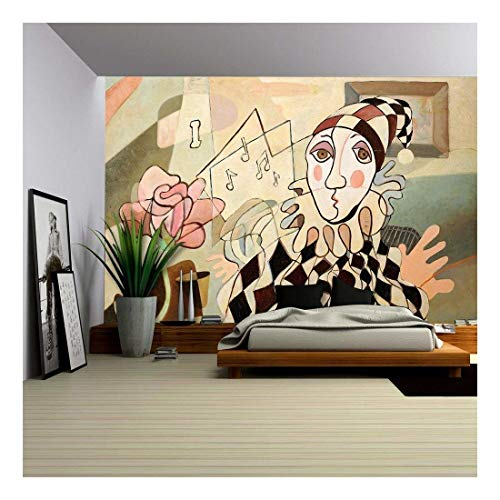 wall26 - Abstract Oil Painting of Harlequin and Rose - Removable Wall Mural   Self-Adhesive Large Wallpaper - 100x144 inches