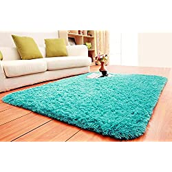 ACTCUT Super Soft Indoor Modern Shag Area Silky Smooth Fur Rugs Fluffy Anti-Skid Shaggy Area Rug Dining Living Room Carpet Comfy Bedroom Floor 4- Feet by 5- Feet (Blue)