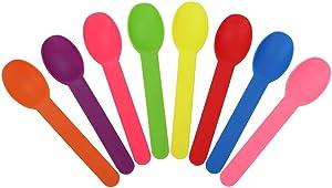 [25 Count] Mixed Heavy Duty Plastic Spoons - Disposable Frozen Yogurt Ice Cream Spoons - Frozen Dessert Supplies