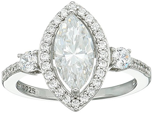 Platinum Marquise Ring (Platinum-Plated Sterling Silver Swarovski Zirconia Marquise Halo Ring, Size 6)
