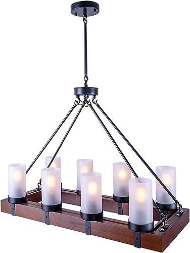 OYIPRO Vintage Industrial Kitchen Island Light, 8 Lights Retro Pendant Light Fixture Rectangular Wood Frame Metal Hanging Chandeliers Ceiling Light Luminaire