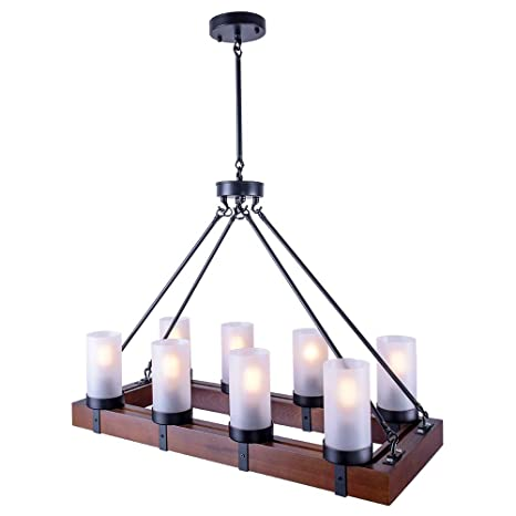 Oyi Vintage Industrial Kitchen Island Light 8 Lights Retro Pendant Light Fixture Rectangular Wood Frame Metal Hanging Chandeliers Ceiling Light
