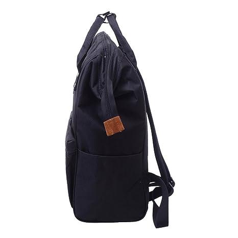 Bolso, Manadlian Unisexo Bolsa con cierre Mochila sólida Colegio Bolsa de viaje Bolsa de hombro doble (24*19*39cm, Negro): Amazon.es: Hogar