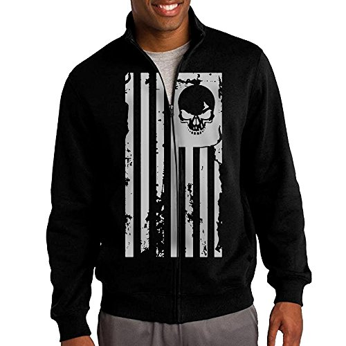 The Town Movie Skull Costumes (Men's Skull Flag Solid Stand Collar Zipper Jacket Size S)