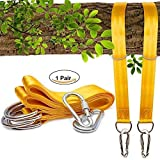 Tree Swing Straps Hanging Kit (Set of 2) - 5ft Long with Two Zinc Alloy Carabiners - 2200Lbs Break Strength - for Swing & Hammock Ropes and Hangers to Hang Tire,Saucer,Web Swing/Toddler Swing