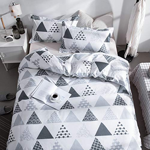 (KFZ Triangle Stripes Printed Duvet Cover Set Twin Size Soft White Bedding Set [3PCs with One 60