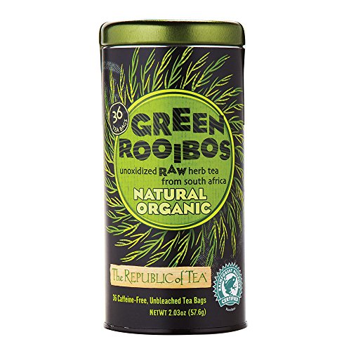 The Republic Of Tea 100% Organic Natural Green Rooibos Tea Bags, 36 Tea Bag Tin