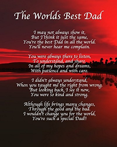 Personalised Worlds Best Dad Poem Fathers Day Birthday Ch...