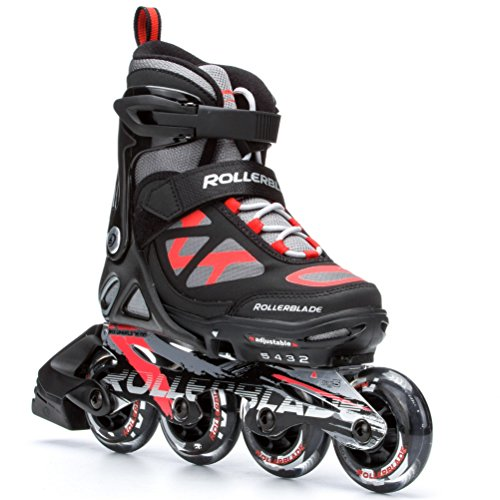 Rollerblade 2015 Spitfire JR LX ALU High Performance Kids/Youth Skate, Black/Red, 4 Size Push Button Adjustable - US 2 to 5