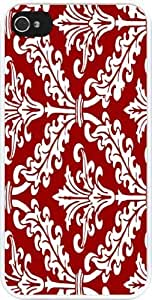 Burgundy Color Damask Design Design iPhone 4 & 4s Case Cover (White PC with bumper protection) for Apple iPhone 4 & 4s