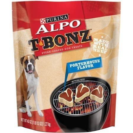 (ALPO T-Bonz Porterhouse Flavor Steak-Shaped Dog Treats 45 oz. Bag)