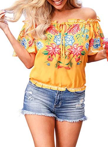 Womens Spring Flower Print Off The Shoulder Slash Neck Tops Ruffle T-Shirt Blouses Plus Size XX-Large 18 20 Yellow