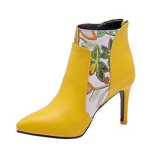 Tefamore Mujer Zapatillas Moda Botines Plataforma Sexy Stiletto Mujer Impresión Tacón de Aguja Alto 8.5cm Cremallera Ankle Boots Zapatos: Amazon.es: Zapatos ...