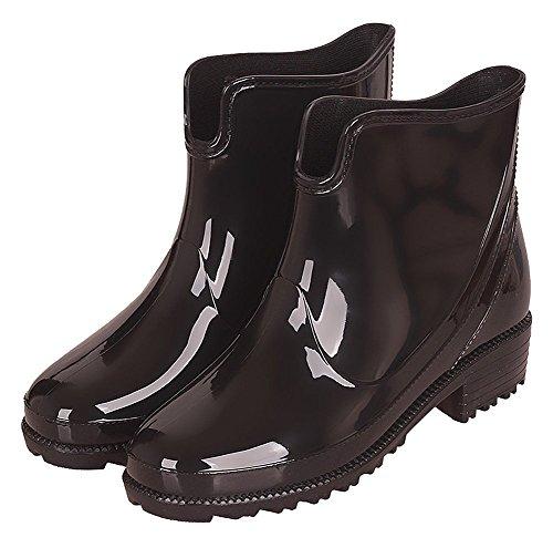 Impermeabile Gomma Stivali per Scarpe Pioggia di Equitazione da Stivali Moda Chelsea Donna alla Boots Nero Donna Stivaletti da Antiscivolo qO4cS