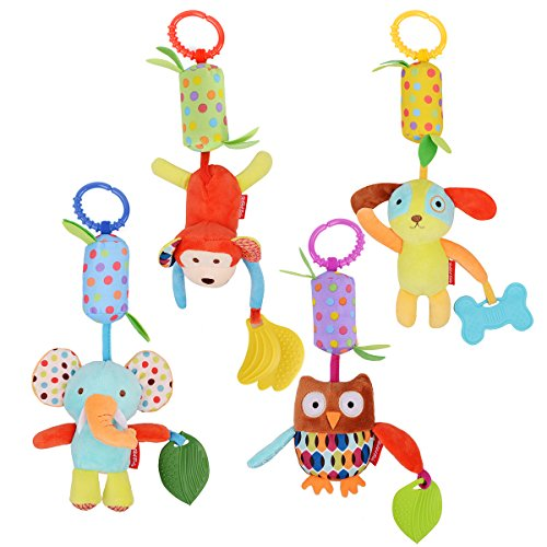 HAHA Baby Toys Soft Hanging Rattle Toy Infant Stroller Car Seat Crib Cute Travel Activity Plush Animal Wind Chime with Teether for Boys Girls