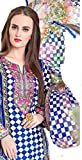 Women's Pakistani Style Party Wear Elegant New Arrival Pure Cotton Unstitched 3 Piece Printed Suit With Interlock Chiffon Duppata (Checkered Blue)