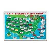 Melissa y Doug Flip to Win Juego de placas de viaje - Tablero de juego de mapas de madera de EE. UU.