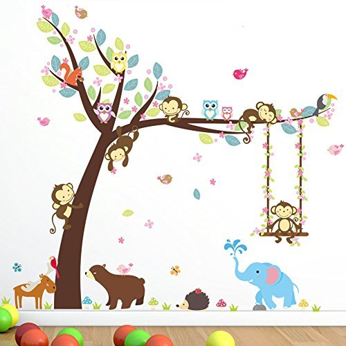 Cartoon Monkey Owls Tree Jungle Animal Theme Wall Art Decal Sticker Mural Decoration for Living Room Nursery Baby Girl Boy Kids Children's Room Bedroom Decor ()