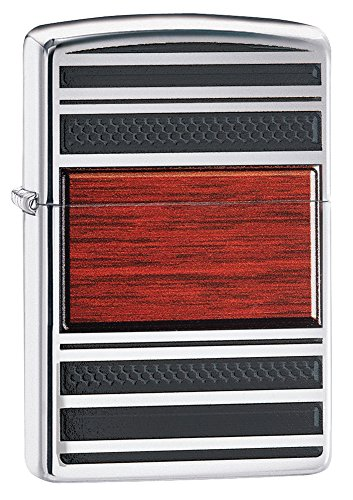 Zippo Wood Grain Pocket Lighter, High Polish Chrome