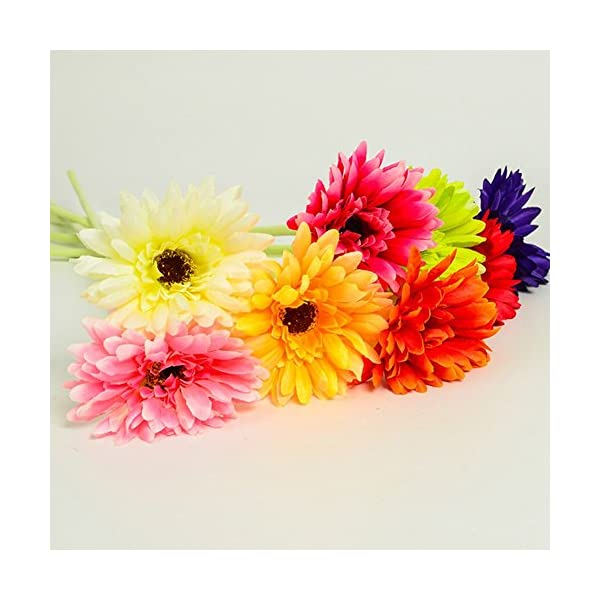 Lopkey 10 Pack- Real Touch Latex Silk Artificial Fake Plastic Daisy Chrysanthemum Flowers Sun Chrysanthemum,Sunflower, Simulation Gerber, Dimorphotheca,Party Room Home Decoration DIY Flower Bouquet