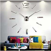 KLY Fashion Large DIY Wall Clock Home Decor 3D Mirrors Sticker Cool Big Timer Silver