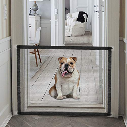 Accmor Magic Gate for Dogs, Baby Gates Pet Safety Gate, Portable Folding Mesh Magic Gate Baby Safety Gates, Safe Guard Install Anywhere, Safety Fence for Hall Doorway Wide Tall (Black)