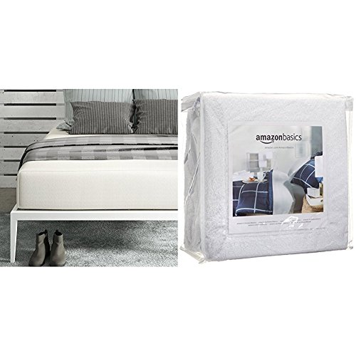 Signature Sleep Memoir 12 Inch Memory Foam Mattress with CertiPUR-US certified foam, Queen with AmazonBasics Hypoallergenic Vinyl-Free Waterproof Mattress Protector, Queen